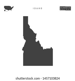 Idaho US State Blank Vector Map Isolated on White Background. High-Detailed Black Silhouette Map of Idaho.