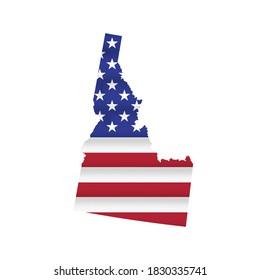 Idaho US state flag map isolated on white. Vector illustration.