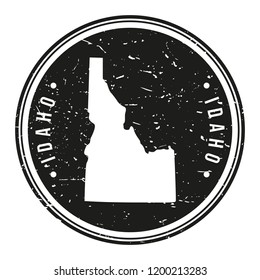 Idaho USA Map Symbol Round Design Stamp Travel and Business