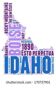 Idaho USA state map vector tag cloud illustration