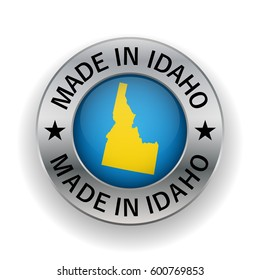 Idaho vector seal. Vintage USA state map stamp. Grunge rubber stamp with Made in Idaho text and USA state map, vector illustration.