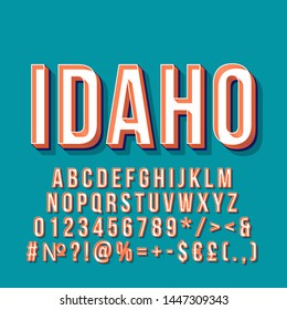 Idaho vintage 3d vector lettering. Retro bold font, typeface. Pop art stylized text. Old school style letters, numbers, symbols, elements pack. 90s, 80s poster, banner. Pine color background