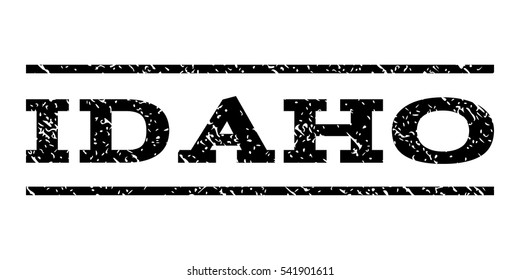 Idaho watermark stamp. Text tag between horizontal parallel lines with grunge design style. Rubber seal stamp with dirty texture. Vector black color ink imprint on a white background.
