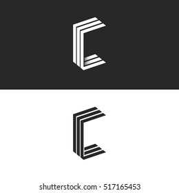 Idea 3D logo C letter isometric monogram, group initials CCC black and white simple emblem mockup, parallel lines 3D geometric shape