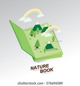 Idea Book of Nature.Paper art of environmental.