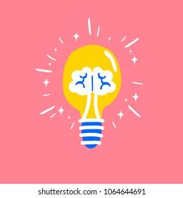 Idea brainstorm design concept with creative vision symbols in lightbulb brain shape illustration
