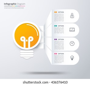 Idea bulb infographic diagram with 4 choice, Content idea concept diagram, Infographic template. vector stock.