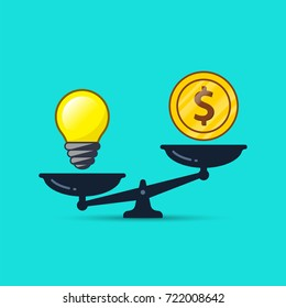 Idea bulb and money on scales illustration. Vector business concept.
