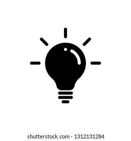 Idea bulb vector icon. Lamp light bulb isolated silhouette