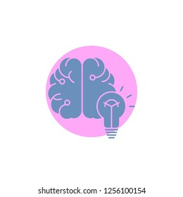 idea, business, brain, mind, bulb Glyph Icon.