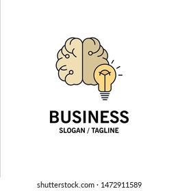 idea, business, brain, mind, bulb Flat Color Icon Vector