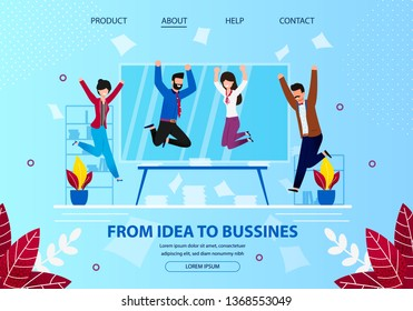 From Idea to Business. Cheerful Business People Laughing and Jumping with Hands Up at Office Workplace. Employee Characters Rejoice for New Project. Cartoon Flat Vector Illustration. Horizontal Banner
