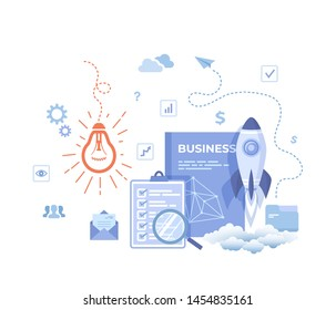 Idea Business Concept, Project Startup, Financial planning, Strategy, Realization and Success. Light bulb, rocket launch, business plan, clipboard, checklist. Vector illustration on white background.