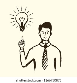 Idea, business concept sketch, close-up. The businessman found a solution and pointed his index finger at the burning lamp, scientific discovery. Vector hand drawn illustration.