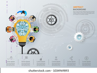 Idea concept for business analysis and brainstorm teamwork, creative innovation, consulting, financial report and project management strategy and accounting. Vector illustration.