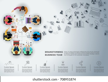 Idea concept for business analysis and brainstorm teamwork, creative innovation, consulting and project management strategy.Vector illustration Infographic template with people, team and icon.