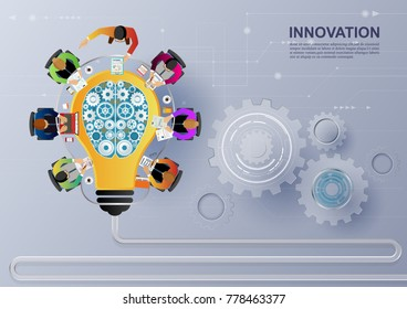Idea concept for business analysis and brainstorm teamwork, creative innovation, consulting, financial report and project management strategy. Vector illustration.