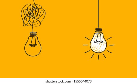 Idea concept, creative bulb sign, innovations. Keep it simple business concept for project management, marketing, creativity – stock vector