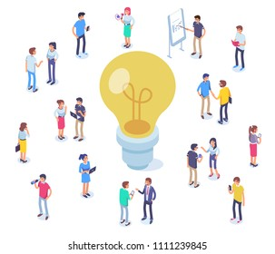 Idea concept image with characters. Can use for web banners, infographics, hero images. Flat isometric vector illustration isolated on white background.