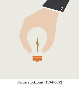 idea concept, lamp hand businessman