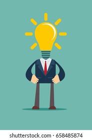 Idea concept, lamp head businessman have got an idea His head full of great light