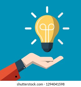 Idea Concept with Light Bulb above Hand Vector Flat Cartoon. Energy Symbol.
