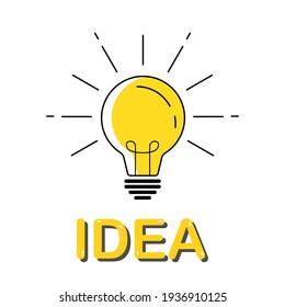 Idea concept with light bulb. Trendy flat vector, business idea, creative thinking. Vector illustration of a light bulb with volumetric text.