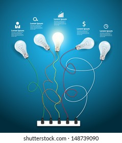 Idea concept with light bulbs on a blue background workflow layout, diagram, step up options, Vector illustration modern template design