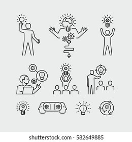 Idea concept person with bulbs vector icons