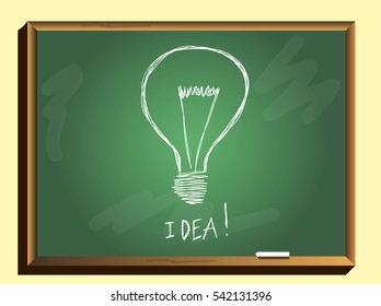 idea concept.Light bulb on chalkboard background.Vector illustration.