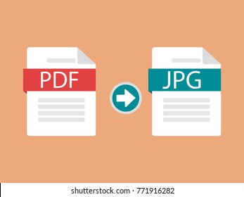 Idea of converting a document from pdf to jpg. Changing or converting a document to another format. Modern vector illustration in a flat style.