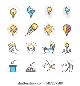Idea, creative and thinking icon set. Included the icons as idea, think, trash, brainstorm, thought, success and more.