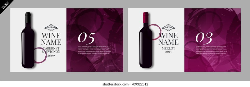 Idea design for catalog, magazine or presentation for wine bottles. Design elements separated by layers. Vector illustration