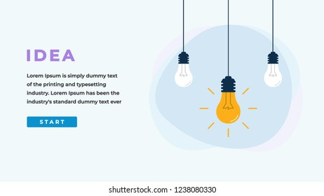 Idea Design Concept with Shining Light Bulbs, Button, Headline and Text Place. Suitable for Web banner, Infographics, Hero images. Flat Vector Illustration Isolated on White Background.