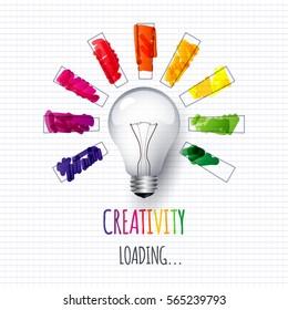 Idea. Design of progress bar, loading creativity