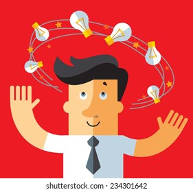 Idea dizziness. business metaphor illustration. business man with flying bulbs around his head.