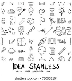 Idea Doodle background seamless pattern line icon vector set