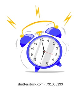 The idea of early awakening. Wake of the alarm clock, flat cartoon style. Vector icon isolated on background.