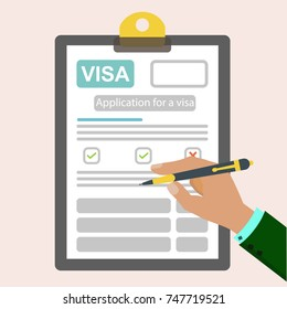 The idea of filling out documents for obtaining a visa. Visa application, flat vector illustration.