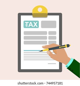 The idea of filling the tax form. Vector illustration document tax form in a flat style isolated on background.