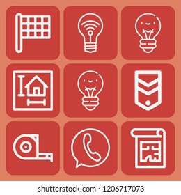 Idea, finish flag, measuring tape, blueprint, lightbulb, chevron icon set suitable for info graphics, websites and print media and interfaces