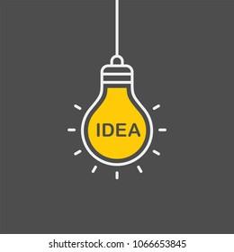 Idea flat vector icon. Lightbulb flat vector icon