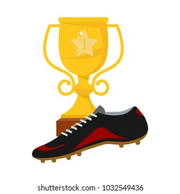 40384f22e The idea of a football victory. Football boots on the background of the  winner's cup