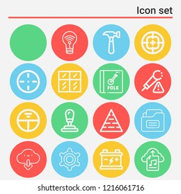 Idea, gear shift, battery, download, pyramid, glass wall, hammer, folder, chat, settings, target icon set suitable for info graphics, websites and print media and interfaces