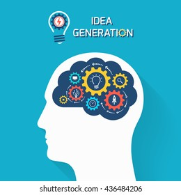 Idea generation business concept. Human head with brain and gears. Infographic template. Vector illustration.
