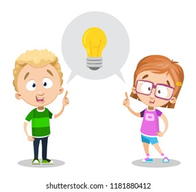 Idea generation concept with little children. Smiling kids pointing on lightbulb. Think outside the box vector illustration in cartoon style. Creativity process and good idea. Kids brainstorm banner