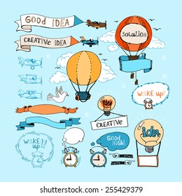 Idea hand-drawn elements. Vector bulbs, airplanes, balloons and alarm clocks  in blue sky. Ribbon banners
