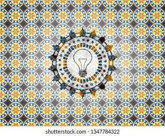 idea icon inside arabesque badge background. arabic decoration.