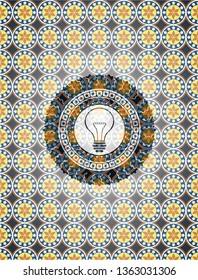 idea icon inside arabesque badge. arabic decoration.