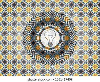 idea icon inside arabic badge background. Arabesque decoration.